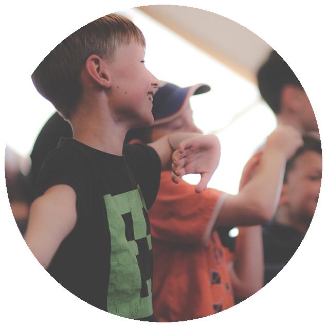 Kid Waving In Worship
